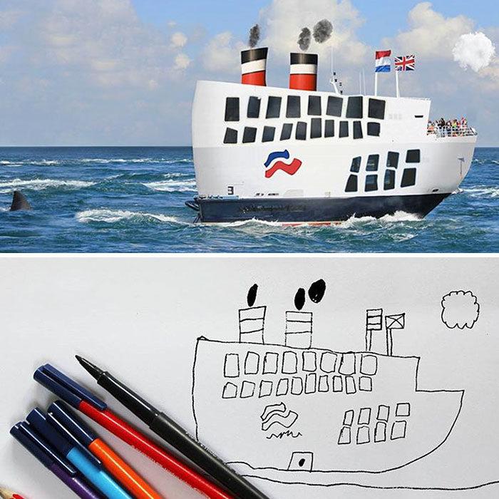 Papá recrea dibujos hijo - barco