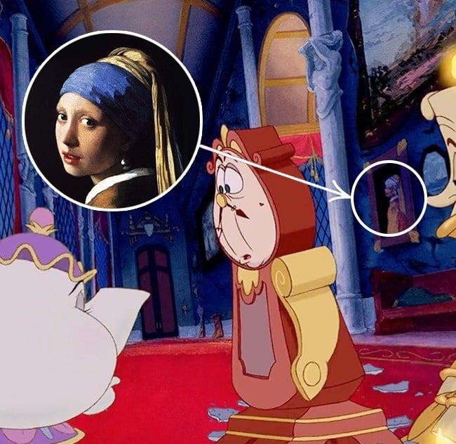 Pintura de la joven con el arete de perla en la Bella y la Bestia