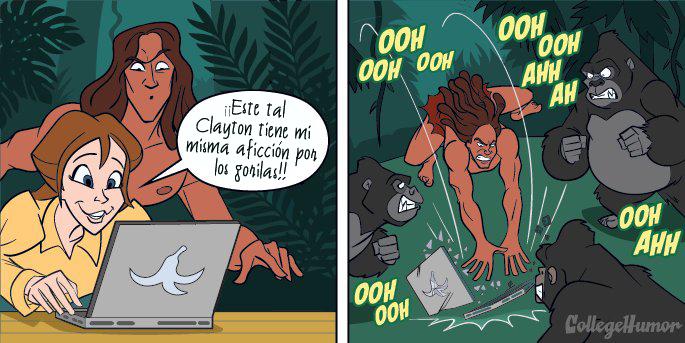 Comic, Tarzan rompe la computadora de Jane