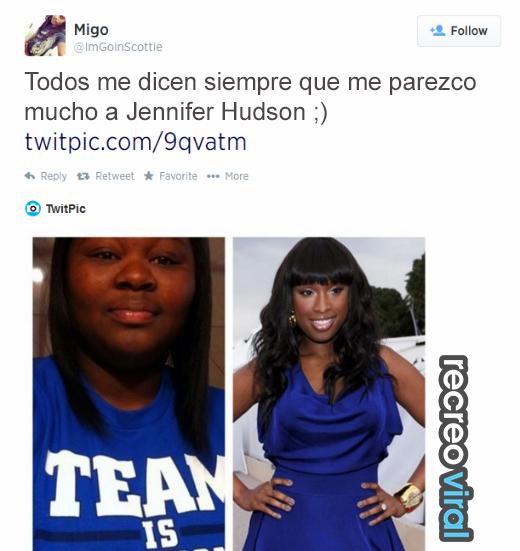 Chica piensa que es igual a Jennifer Hudson