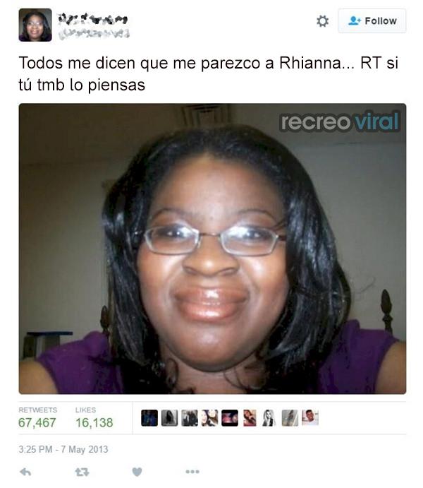 Mujer piensa que se parece a Rhianna