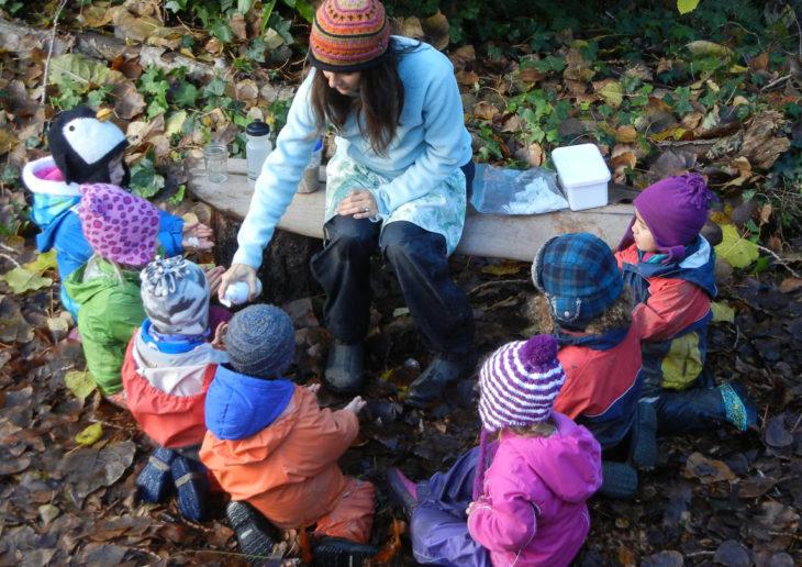 maestra con grupo de niños en el bosque