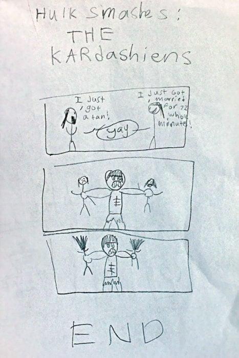 dibujo de hulk aplastando a las kardashians