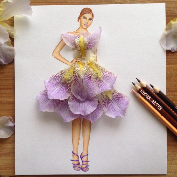 vestido hecho con pétalos de rosa