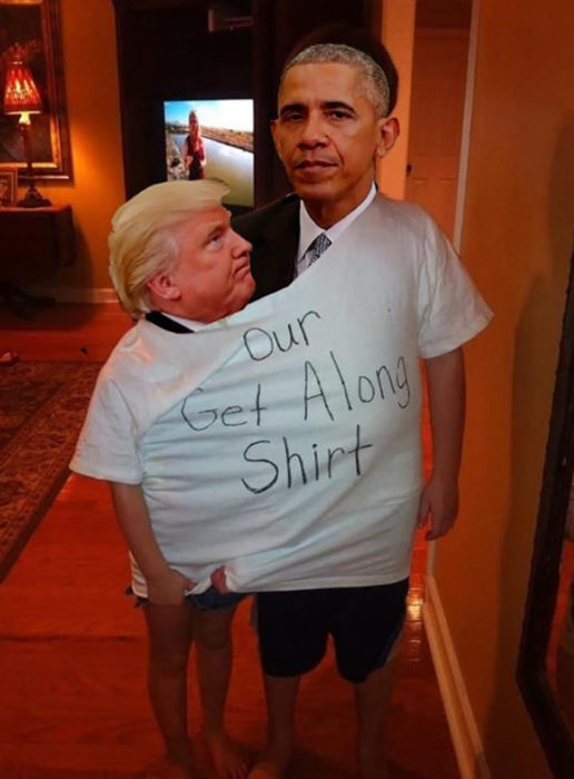 photoshop de trump y obama en una misma camiseta