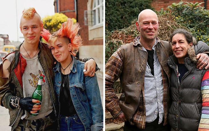 pareja de punks antes y después