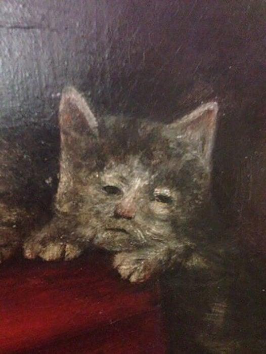 pintura de gato triste