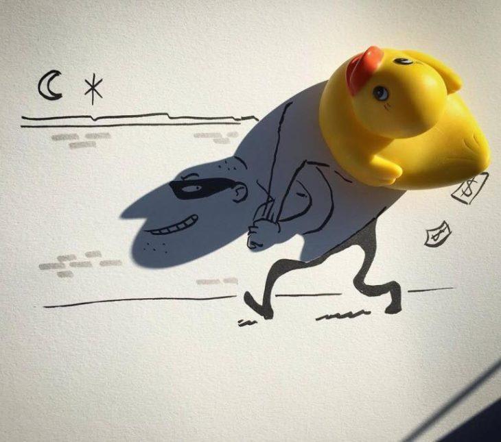ilustración de ladrón de la sombra de un pato de plástico