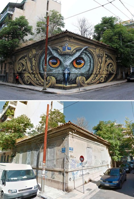 arte urbano de un búho