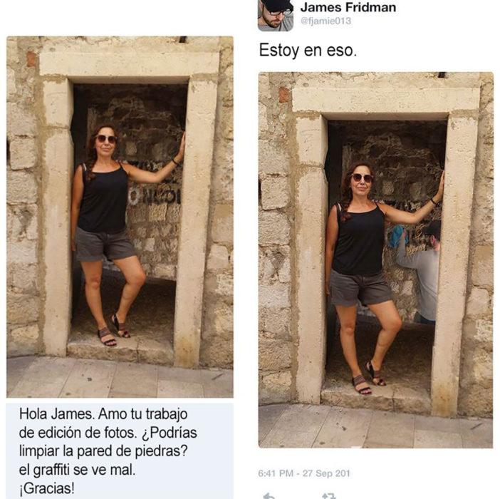 máster troll limpia la pared de una ruina a petición de una foto