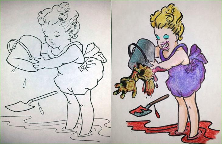 libro de colorear corrompido niña con cubeta llena de partes de zombie