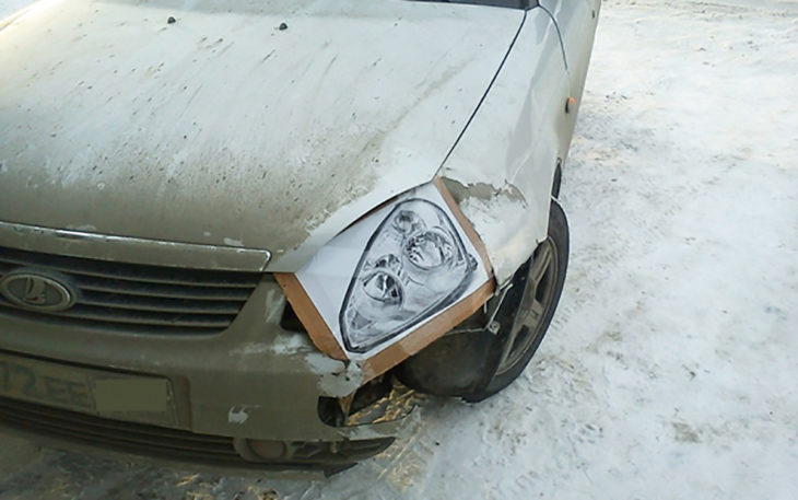 impresión de foco de coche donde debería ir el foco de coche