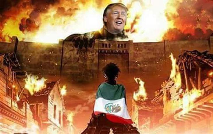 donald trump en un muro en llamas