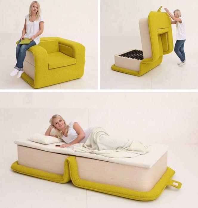 Sillón desplegable se convierte en cama