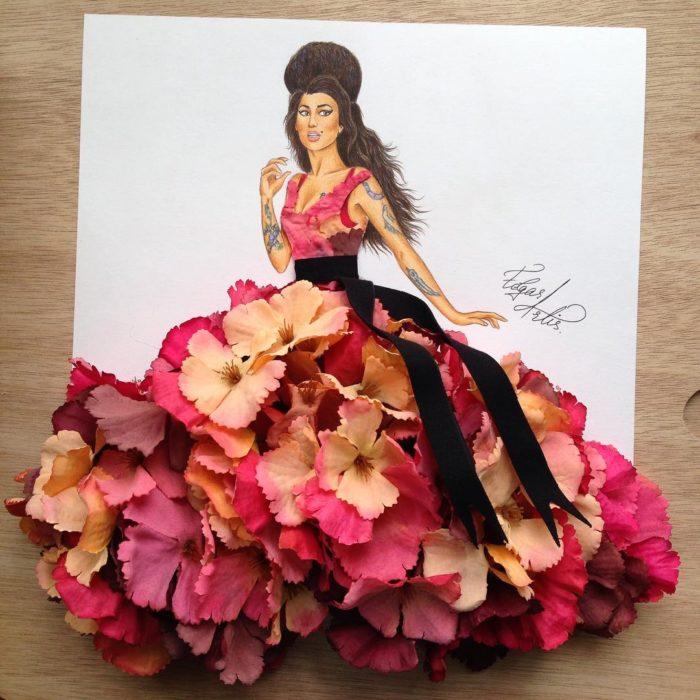 ilustración mujer con vestido hecho de flores y listón