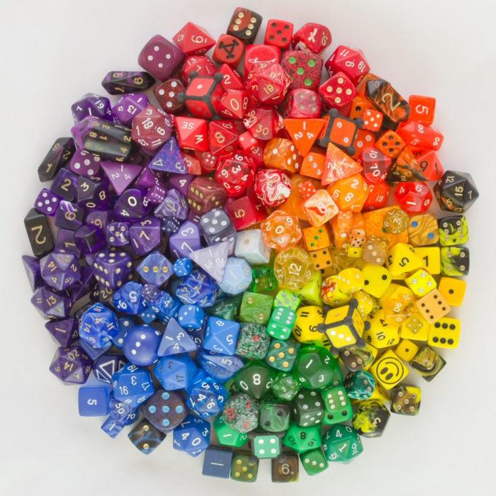 dados acomodados por colores