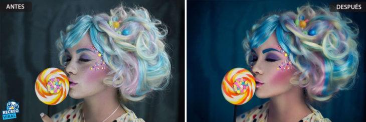 Magia de Photoshop - Mujer con cabello de colores