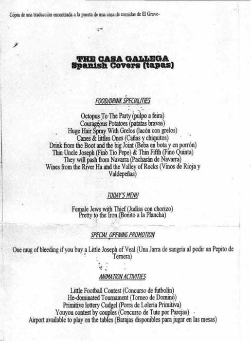 menú gallego mal traducido
