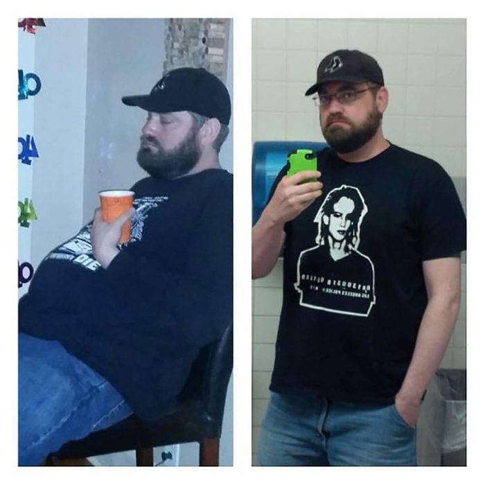 hombre adelgaza antes y después de dejar de beber