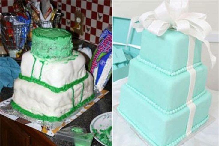 pastel mal hecho derecha, pastel bien hecho izquierda