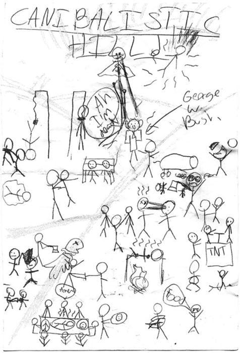 niño dibuja colima de caníbales