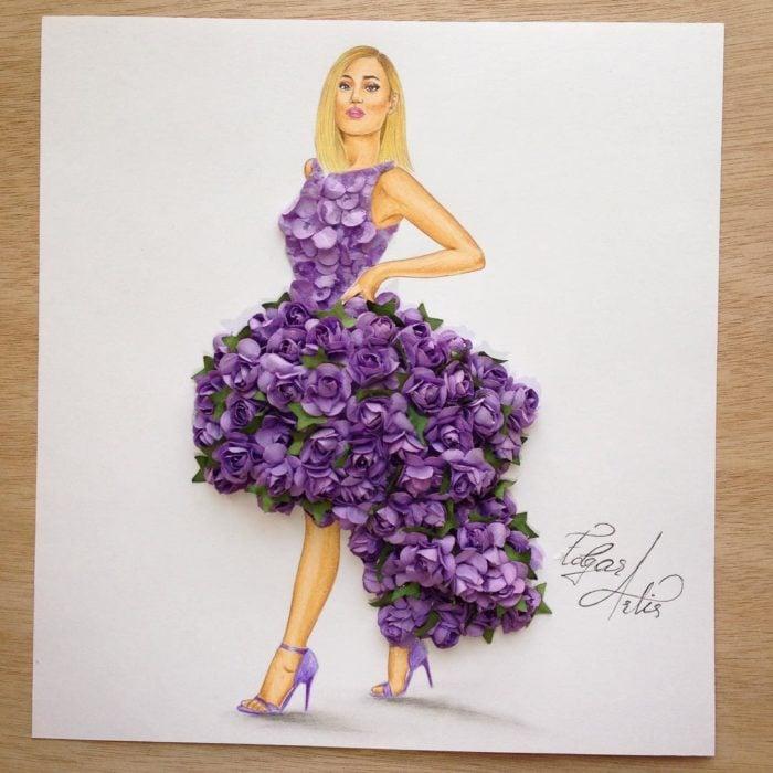 ilustración mujer con vestido hecho de flores moradas