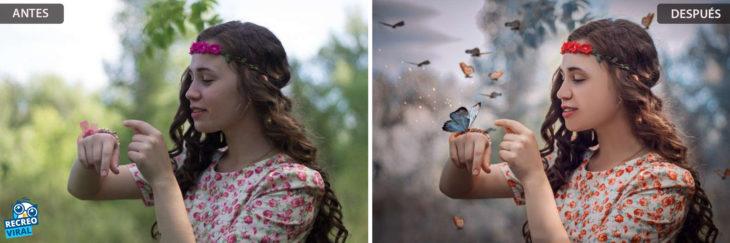 Magia de Photoshop - Chica viendo su mano/chica viendo mariposa