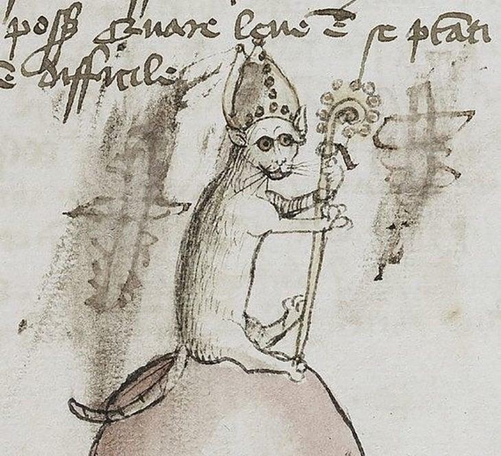 pintura medieval de gato obispo
