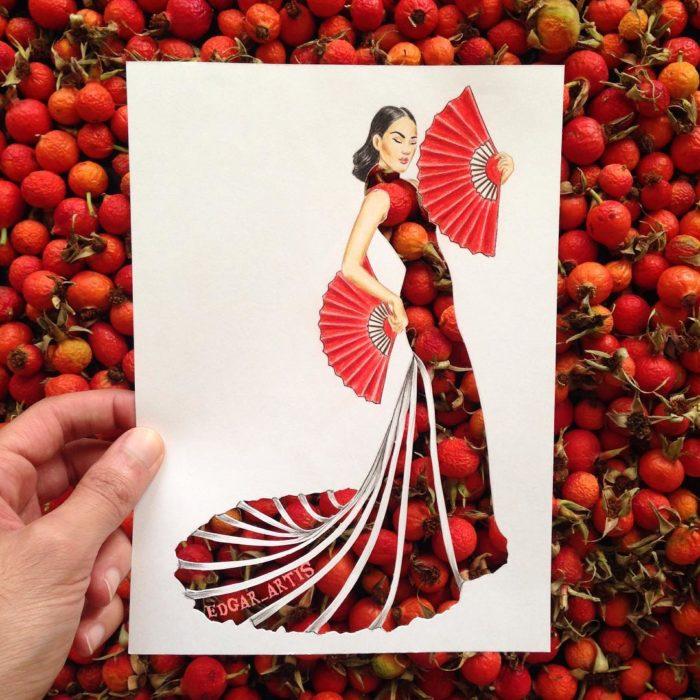 ilustración mujer con vestido hecho de frutos rojos
