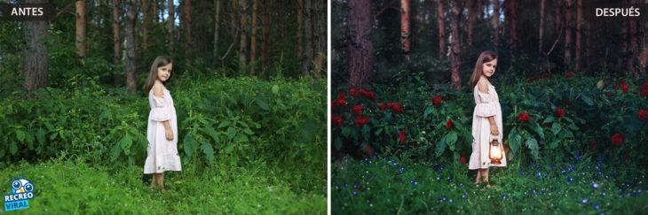Magia de Photoshop - Niña en el bosque
