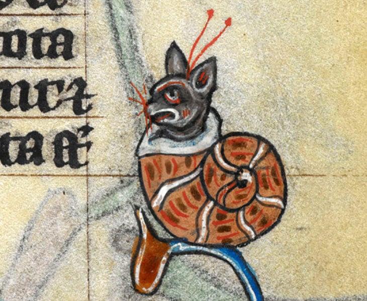 pintura medieval de híbrido entre gato y caracol