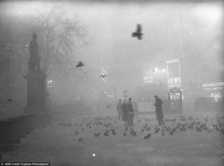 personas en parque con palomas en londres durante la niebla ácida