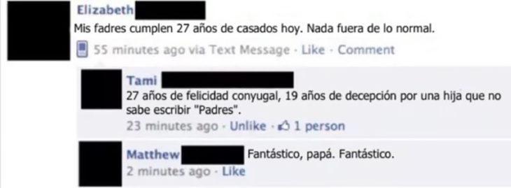 estado de facebook con error ortográfico