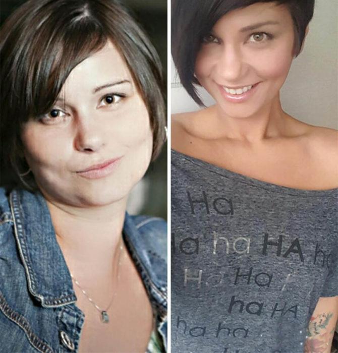 mujer de cabello corto antes y después de dejar de beber