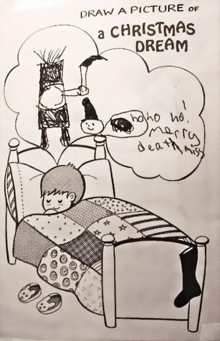 dibujo de un niño teniendo una pesadilla