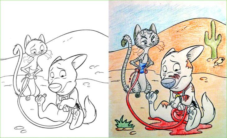 libro de colorear corrompido perro y gata
