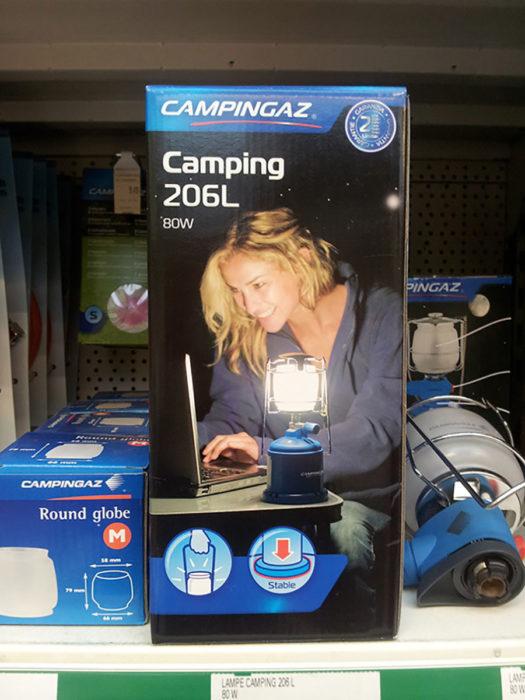 empaque de lámpara de acampar