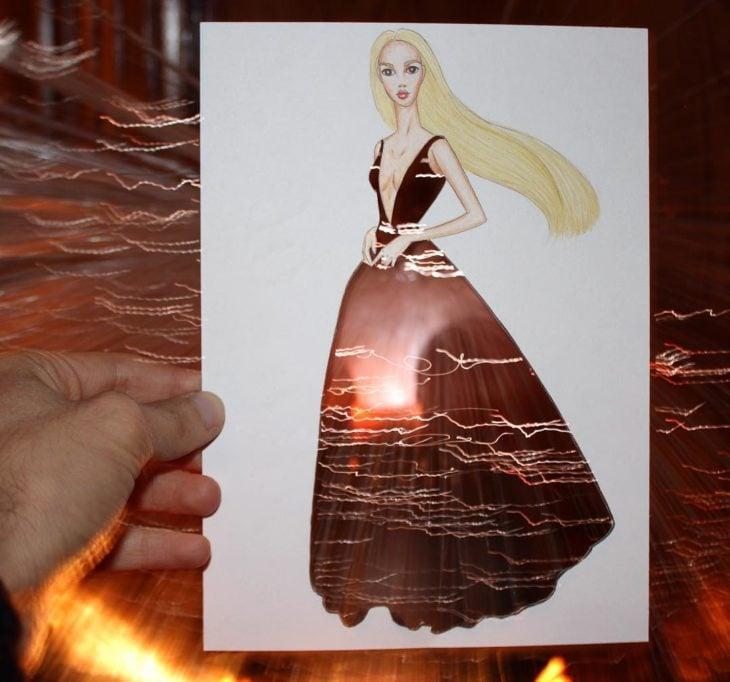 ilustración mujer con vestido hecho de efecto luminoso