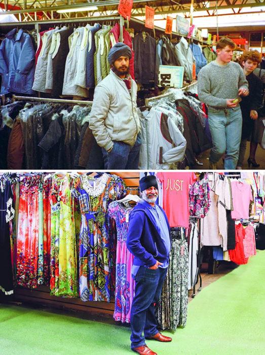 señor con turbante frente a ropa recrea foto de su juventud