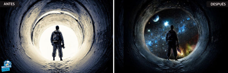 Magia de Photoshop - Hombre viendo la galaxia