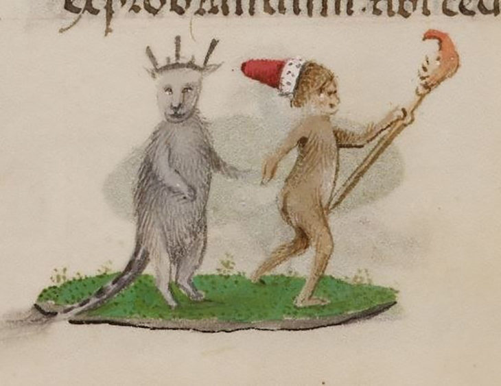 pintura medieval de gato con corona