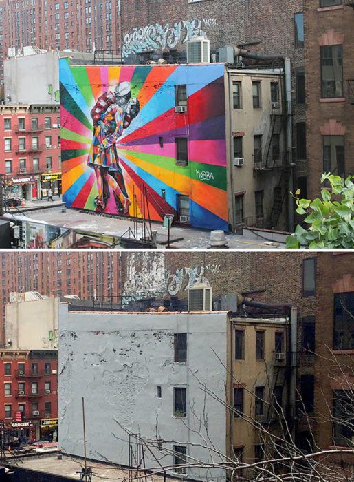 mural de el beso en nueva york