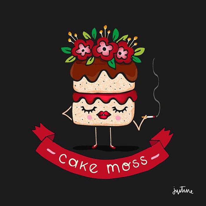 ilustración de un pastel con cara
