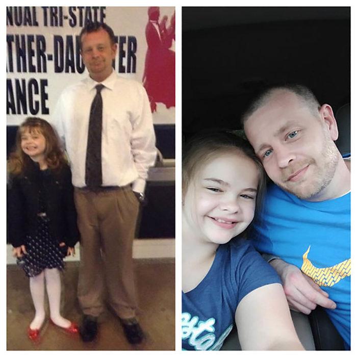 hombre con su hija antes y después de dejar de beber