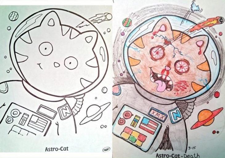 libro de colorear corrompido gato vestido de astronauta