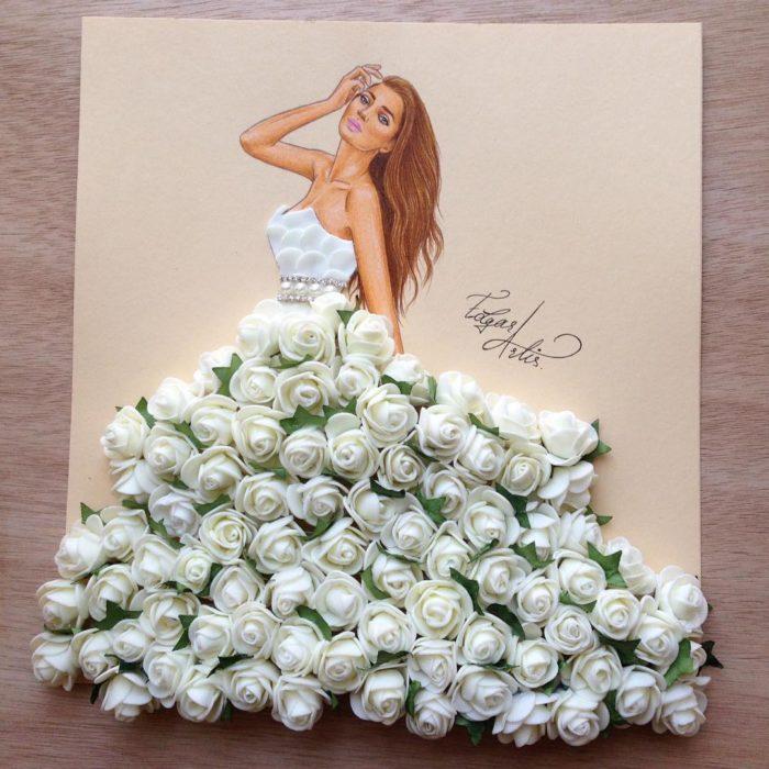 ilustración mujer con vestido hecho de flores blancas