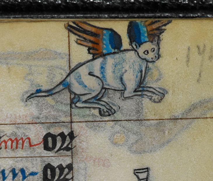 pintura de gato medieval con alas
