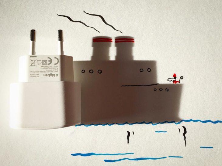 ilustración de barco de la sombra de un cargador