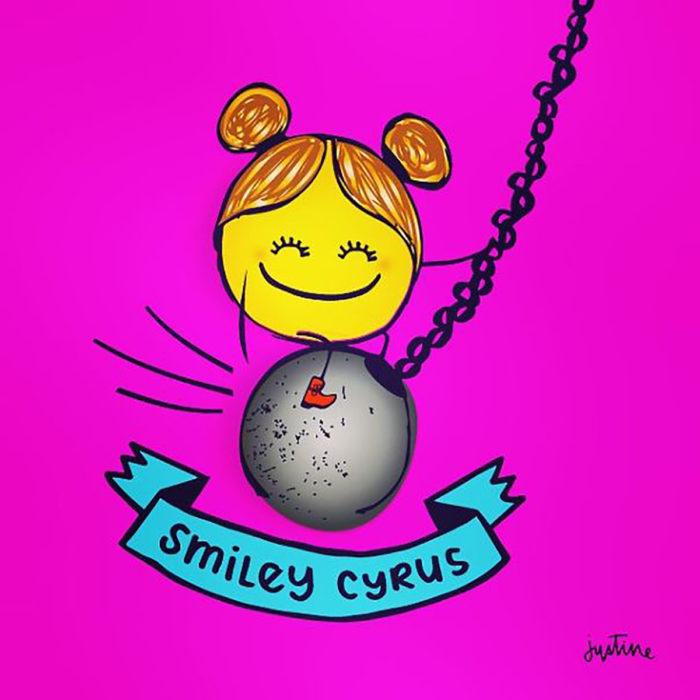 ilustración de una cara sonriente sobre una bola de demolición