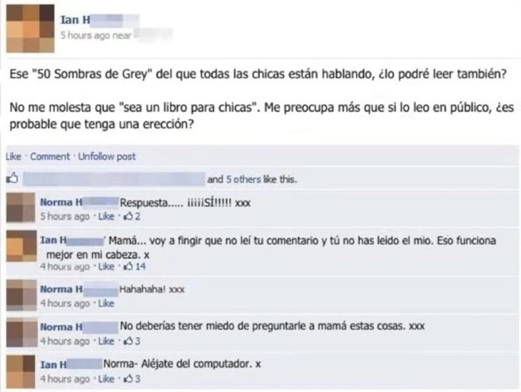 estado de facebook de 50 sombras de grey